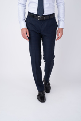 Tmavě modré oblekové kalhoty Ze 100% vlny